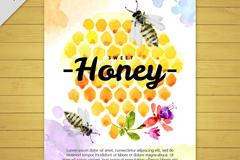 彩绘蜂窝和蜜蜂卡片矢量素材