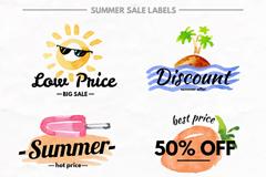 6款水彩绘夏季促销标签矢量图