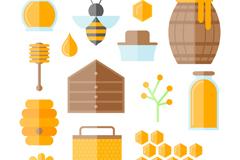 15款扁平化有机蜂蜜元素矢量素材
