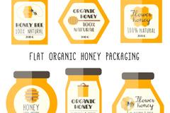 6款扁平化有机蜂蜜包装矢量图