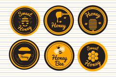 6款圆形蜂蜜徽章矢量素材