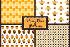 4款创意蜜蜂元素无缝背景矢量图