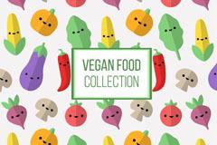 可爱素食蔬菜表情无缝背景矢量图