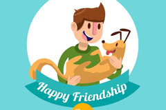卡通男子和宠物狗的友谊日矢量素材
