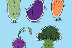 5款可爱卡通蔬菜设计矢量素材