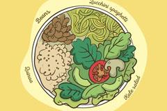 彩绘素食拼盘俯视图矢量素材