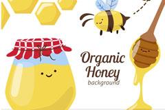 卡通有机蜂蜜和蜜蜂矢量素材