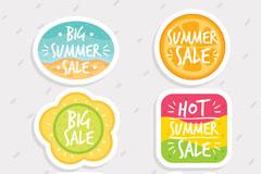 6款清新夏季特色促销标签矢量图