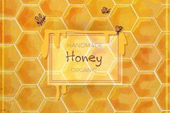 手工制有机蜂蜜蜂窝背景矢量素材