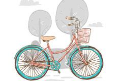 彩绘郊外单车享受骑行矢量素材