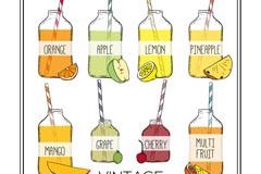 8款复古手绘瓶装果汁矢量素材