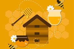 6款精致蜂蜜元素矢量素材