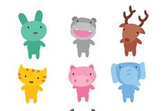 9种可爱卡通小动物矢量w88优德