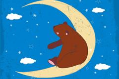坐在月牙上的棕熊矢量素材
