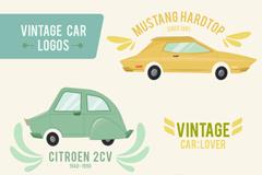 3款复古彩绘车辆标志矢量素材