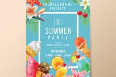 夏季花卉与食物派对海报矢量图