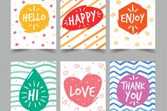 6款彩色祝福卡片设计矢量素材