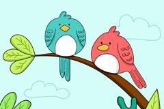 卡通树枝上的两只鸟矢量w88优德