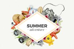 水彩绘夏日假期元素框架矢量w88优德