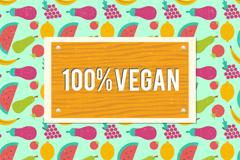 彩色纯素食食物无缝背景矢量图