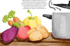 水彩绘厨房里的蔬菜和锅矢量素材
