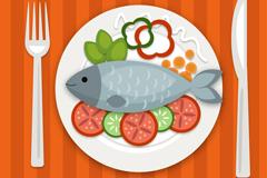 美味鱼料理俯视图和刀叉矢量素材