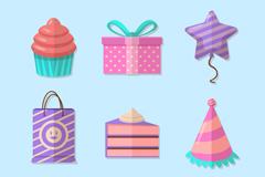 6款彩色生日派对元素矢量素材
