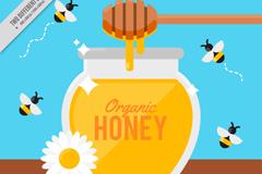 沾蜂蜜的搅拌棒和蜜蜂矢量素材