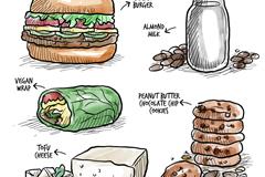 5款彩绘美味素食食物矢量素材