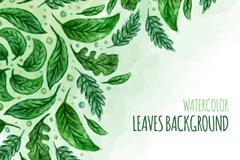 绿色水彩叶子矢量素材