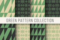 8款绿色系图案无缝背景矢量图