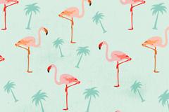 粉色火烈鸟和椰子树无缝背景矢量图