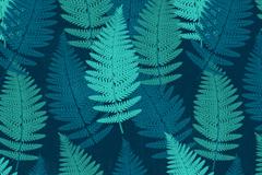 创意蓝绿色蕨类叶子无缝背景矢量