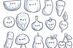 16款彩绘素食蔬菜水果表情矢量素材