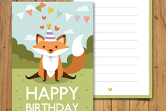 可爱野生狐狸生日邀请卡矢量图