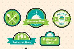 7款蓝绿色餐馆标签设计矢量素材