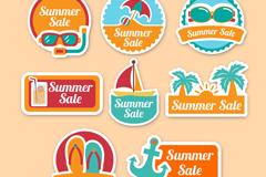8款彩色夏季假日促销标签矢量图