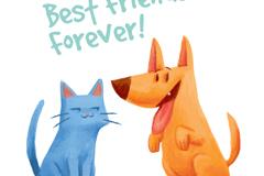 可爱蓝猫和狗的友谊矢量w88优德