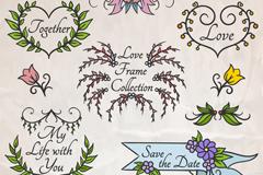 6款彩绘花草婚礼框架矢量图