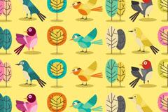 创意小鸟和树木无缝背景矢量图