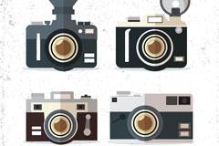 4款黑色扁平化复古照相机矢量w88优德