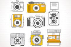 8款彩绘复古照相机矢量素材