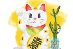 水彩绘白色日本招财猫矢量w88优德
