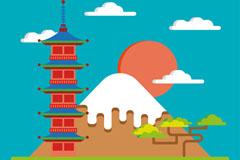 日本特色风景富士山插画矢量素材