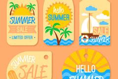 5款彩色夏季促销吊牌矢量图