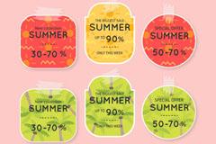 6款彩色夏季折扣贴纸矢量素材
