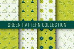 8款清新绿色图案无缝背景矢量图