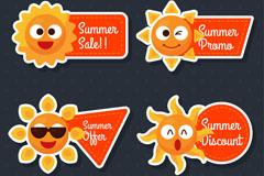 4款卡通太阳夏季促销贴纸矢量图