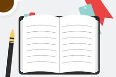 打开的空白记事本和咖啡矢量w88优德