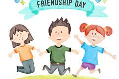 友谊日3个彩绘跳跃的人物矢量素